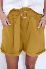 Gelbe lässige Papiertaille Shorts