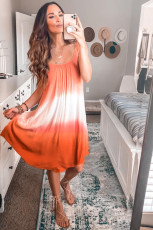 Oranje ombre tie-dye mouwloze flowy jurk