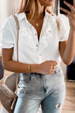 پیراهن آستین کوتاه دکمه دار سفید با رول