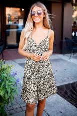 Leopard Spaghetti Straps Rüschen Minikleid