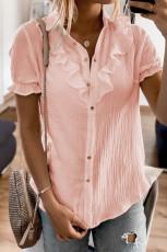 Kemeja Lengan Pendek Berkancing Merah Muda dengan Ruffles