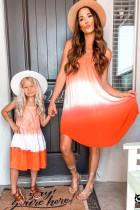 Оранжевое струящееся платье без рукавов с принтом тай-дай и омбре