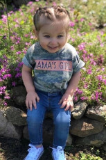 MAMA'S GIRL Camo Print Çocuk Tişörtü