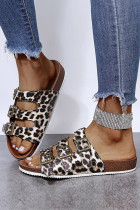 Triple Buckles Leopard Flat Sandals