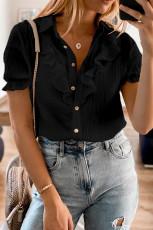 Schwarz geknöpftes Kurzarmhemd mit Rüschen