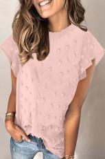 블러쉬 핑크 러플 슬리브 스위스 도트 티셔츠