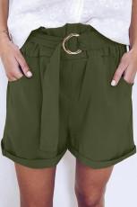 Pantaloni scurți cu talie verde de hârtie