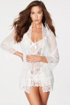 3stk Hvid Sheer Lace og Bow Robe Set