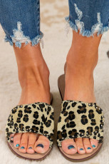 Pantofole piatte a punta tonda con perline leopardate estive