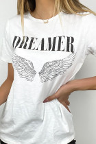 Witte DREAMER Angel Wings Graphic Tee