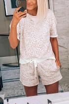 ヒョウ柄Tシャツと巾着ポケットショーツラウンジセット