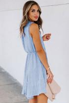 Gök Mavisi Split Yaka Pom Pom Dokulu Dökümlü Mini Elbise