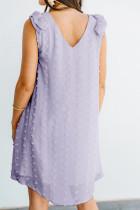 Paarse Zwitserse Dot V-hals gegolfde mouwloze mini-jurk