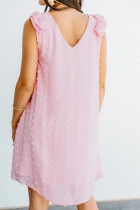 핑크 스위스 도트 브이넥 러플 민소매 미니 드레스