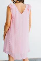 Gaun Mini Tanpa Lengan Merah Muda Swiss Dot V Mengacak-acak