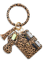 Leopard PU Rumbai Pemegang Kartu Bulat Bangle Gelang Gantungan Kunci