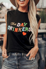 Die DAY DRINKERS Letters Print Tank Top