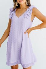 퍼플 스위스 도트 브이넥 러플 민소매 미니 드레스