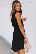 Sort split hals Pom Pom struktureret Flowy Mini kjole