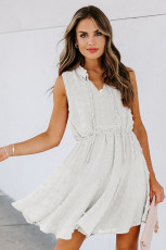 Hvid Split Neck Pom Pom struktureret Flowy Mini kjole
