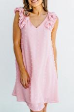 Pink Swiss Dot V-hals Ruffled Ærmeløs Mini Kjole