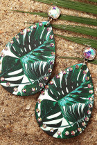 Rhinestones Palm Leaves Print Water Drop Shape Earrings