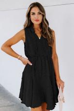 Siyah Bölünmüş Yakalı Pom Pom Dokulu Dökümlü Mini Elbise