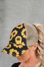 Sunflower Mesh Splicing Criss-Cross Hollow Out Baseball Cap
