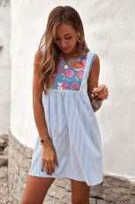 자수 플로럴 스트라이프 민소매 시프트 미니 드레스