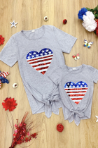 Mommy and Me Patriotic Flag Sequin Heart Applique Knot Top