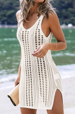 White Hollow Out Crochet Cover Up Beach Dress with Slits