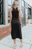 Rochie midi fără mâneci cu fantă laterală neagră