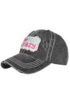 قبعة بيسبول مطرزة ومغسولة باللون الأسود