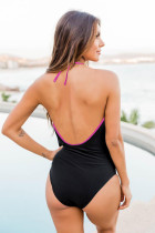 Rose Splicing Leopard Print Color Block One Piece Swimsuit