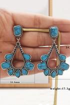 Серьги-капли с синими бусинами
