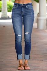 Verontruste skinny fit jeans met onafgewerkte zoom