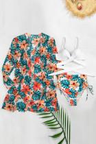 Orange 3stk. Bikini-sæt med tropiske blomster