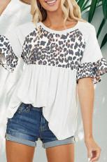 Witte casual top met luipaardstiksels