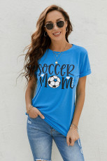 Blå SOCCER MOM Grafisk T-shirt