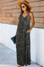 Green Leopard Sleeveless Cut-out Pocketed Maxi Dress