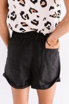 Pantaloni scurți cu talie înaltă cu manșetă neagră