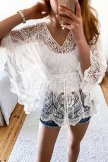 화이트 기모노 슬리브 V 넥 레이스 비치 드레스