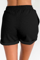 Black Tie Waist Side Pockets Cuffed Lounge Shorts