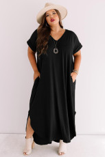 Black Plus Size V Neck Short Sleeve Maxi Dress with Slits