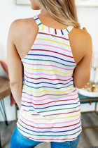 Colorful Striped Halter Tank Top