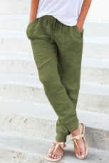 Green Pocketed Drawstring Joggers