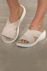 Beige Round Toe Woven Cross Wedge Heel Slippers