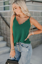 Green Scallop Edge Tank Top