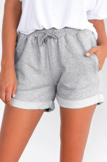 Abu-abu Tie Waist Side Pockets Cuffed Lounge Shorts