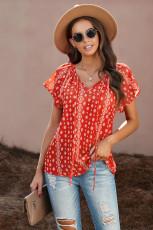 Kırmızı V Yaka Kısa Kollu Moda Baskı Fantazi Çırpınan Bluz